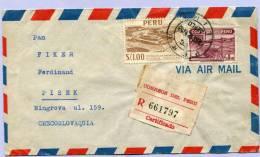 Air Mail Registered Letter LIMA PERU To PISEK Tschechoslovakia 1953 (147) - Peru