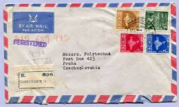 Air Mail Registered Letter INDIA CHURCHGATE To PRAHA Tschechoslovakia (148) - Luftpost
