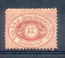 COMPAGNIE DANUBIENNE DE NAVIGATION A VAPEUR (D.D.S.G.) 1866-1880 YVERT NR. 1 (B) COTATION PLUS DE 1600 EUROS sold as is