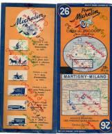 Carte Géographique MICHELIN - N° 026 MARTIGNY - MILANO - 1948 - Roadmaps