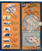 CARTE GEOGRAPHIQUE Michelin - N° 58 BREST - QUIMPER - 1943 - Roadmaps