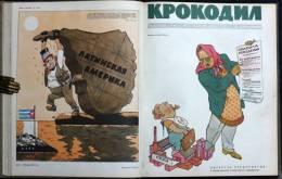 "Russian Satirical Magazine ""KROKODIL"" 1962 _Free Reg. Shipping_ Full Year Set Of 36 Pieces In Hard Cover - Boeken, Tijdschriften, Stripverhalen"