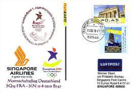 Sonderflugpost / Olympic Flight - Singapore Airlines - Frankfurt-Singapore  [dy87] - Verkehr & Transport