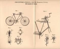 Original Patentschrift - J. Atkinson in Seattle , Washington , 1899 , Fahrrad - Hilfsantrieb , Bicycle !!!