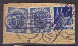 BiZone 75 Wg, BRD 132 MiF (Bauten-Posthorn MiF) Auf Paketkartenstück, LpSt: 16 Helmighausen über Arolsen 16.5.1952 - Bizone