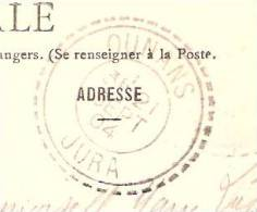 Cachet Manuel Triple Cercle Dont 1 Perlé De Ounans-Jura-1904-sur Carte Postale De Ounans-Le Pont Sur La Loue (scan - Cachets Manuels