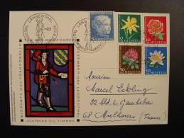 SUISSE TAG DER BRIEFMARKE 1964 JOURNEE DU TIMBRE LANGENTHAL Pour MULHOUSE FRANCE FLEURS FLOWERS BLUMEN FLORE - Pro Juventute