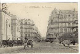 Carte Postale Ancienne Montpellier - Rue Nationale - Montpellier
