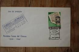 I-4  1968  FDC 150 ANOS PERIODICO DEL CORREO ORINOCO - Venezuela