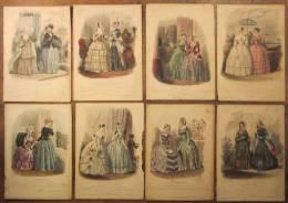 LOT DE 8 Anciennes GRAVURES LE MONITEUR DE LA MODE XIXè JOURNAL DU GRAND MONDE Gravure - Estampas & Grabados