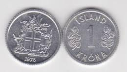 Islandia 1 Corona 1.976 Aluminio KM#23 SC/UNC     T-DL-10.327 - Islandia