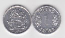 Islandia 1 Corona 1.980 Aluminio KM#23 SC/UNC     T-DL-10.328 - Iceland