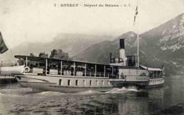 CPA 74 ANNECY DEPART DU BATEAU - Annecy