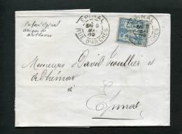 =*= Sage 90 Centrage Perforé BM  Banque De Mulhouse Sur Lettre Epinal>>>>Epinal 9 Mai 1889 =*= - 1876-1898 Sage (Type II)