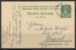 AK YUGOSLAVIA- SUSSAK-postal Stationery- 1946. - Entiers Postaux