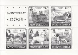 Montserrat MNH Scott #993a Souvenir Sheet Of Dogs - Yorkshire Terrier, Wesh Corgi, King Charles Spaniel, Poodle, Beagle - Montserrat