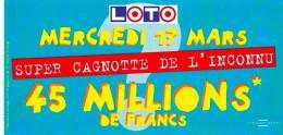 CARTON PUBLICITAIRE FDJ LOTO La Française Des Jeux 253 X 125 Mm PUBLICITE BON ETAT VOIR SCAN SUPER CAGNOTTE DE L´INCONNU