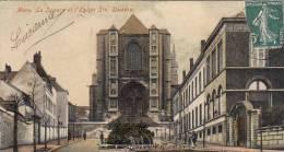Mons - Le Square Et L'Eglise Ste Waudru (animée, Colorée, Timbre Français) - Mons