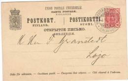 L-FIN3 - FINLANDE Bel Entier Postal Carte De 1894 à Destination De LOHJA - Finlandia