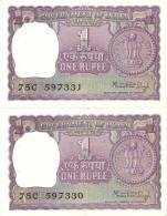 LOTE DE 2 BILLETES CORRELATIVOS DE LA INDIA DE 1 RUPIA DEL AÑO 1978 CALIDAD EBC+  (BANK NOTE) - India