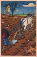 ILLUSTRATEUR HETREAU ILLUSTRATION AGRICULTURE LABOUREUR CHEVAL  1948  TRES BON ETAT  ! ! ! - Non Classificati