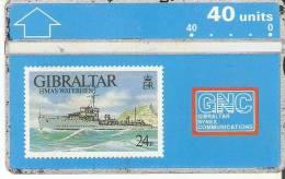 TARJETA DE GIBRALTAR DE UN SELLO CON UN BARCO (STAMP-SHIP) - Gibraltar