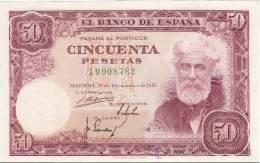 España Billete De 50 Pesetas Del Año 1951 , Pick 141, Estraordinariamente Buena Conservación + - [ 3] 1936-1975 : Régence De Franco