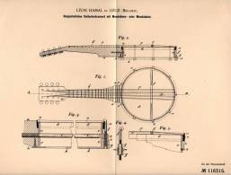 Original Patentschrift - Léon Hamal In Liege , Belgien , 1899 , Banjo , Mandoline , Mandola , Musik !!! - Musikinstrumente
