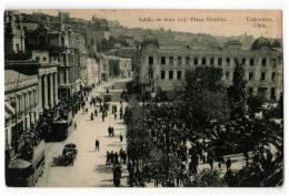 AMERICA CHILE VALPARAISO MASS DEPARTURE II 1/2, SQUARE VICTORIA OLD POSTCARD 1922. - Chile