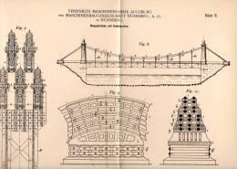 Original Patentschrift - Brücke , Hängebrücke , 1898 , Maschinenfabrik Augsburg - Nürnberg AG , Kabelbrücke , Brücken !! - Architektur