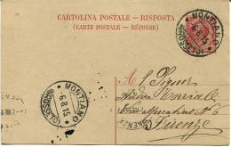 CA005 - Cartolina Postale Risposta (intero) C.10 (num.14) Da Montiano (Grosseto) Per Firenze. - Italia