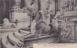 France Lyon Basilique de Notre Dame Lions a l'entree de Sanctuai