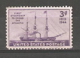 "United States 1944,Steamship ""Savannah"",Sc 923,Mint Hinged* - Unused Stamps"