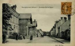 CPA- SAVIGNY-SUR-BRAYE- AVENUE DE LA GARE- ANIMER- - France