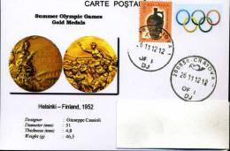 Roumanie, 2012, Carte Postale, Jeux Olympiques, Medaille D'or, Helsinki 1952 - Postkaarten