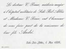FAIRE PART DE NAISSANSE LA 4 MAI 1898 SIDI BEL ABES - Birth & Baptism
