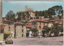 Montfrin (Gard). Place De La République Et Chateau. . 2CV Citroen. CPSM Grand Format. 2 Scans - Autres Communes