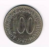 JOEGOSLAVIE  100  DINARA  1987 - Yougoslavie