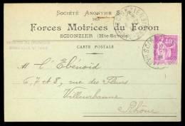 CP Commerciale Forces Motrices Du Foron - Scionzier, Affr. 40c Paix YT 281 - Covers & Documents