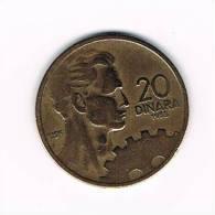 JOEGOSLAVIE  20  DINARA  1955 - Yougoslavie