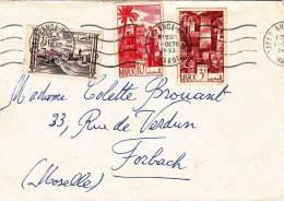 LETTER OF 1953, MOROCCO CASABLANCA > VERDUN, 3 SPECIAL STAMPS - Marokko (1956-...)