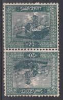Saar: Mi 55 Kehrdruckpaar MH/* - 1920-35 Saargebiet – Abstimmungsgebiet