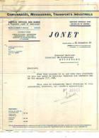 Charleroi - 1936 - Transport Jonet - Transport