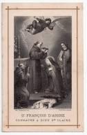 Image Pieuse Saint François D'Assise Consacre à Dieu Sainte Claire, 1894, ImP. Guénieux Frères, Nantes, 2 Scans - Santini