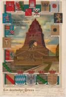 AK LEIPZIG Gruss Aus Litho National Denkmal Timbre Stamp 1908 - Leipzig