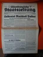 Oldenburgische Staatszeitung, 30.6.1940, Heldentod Marschall Balbos ! - Revues & Journaux