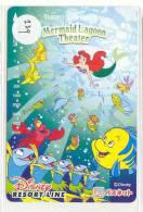 Carte Prépayée Japon (239) DISNEY SEA RESORT LINE - Film - LITTLE MERMAID Sirène & Crabe - Japan Prepaid Movie Card - Disney