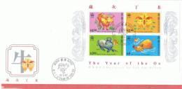 L-HG8 - HONG KONG FDC Bloc Année Du Boeuf 1997 - FDC
