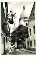 """Paris Sacré Coeur - Montmartre Rue Du Chevalier De La Barre - Animée Noir Et Blanc Enseigne Métal """"Mimiche - Sacré Coeur"""
