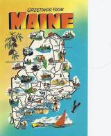Maine  Greetings From  A-185 - Landkarten